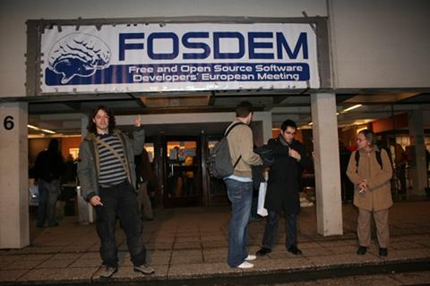 Me at FOSDEM main entrance