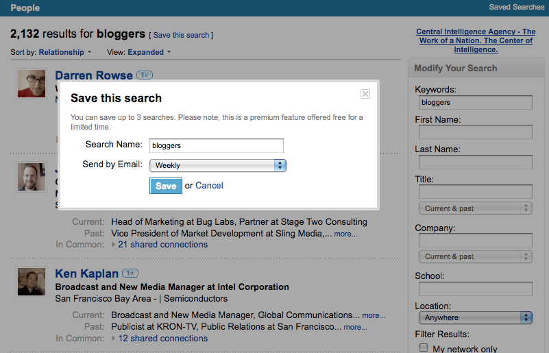 LinkedIn's new Saved Search functionality