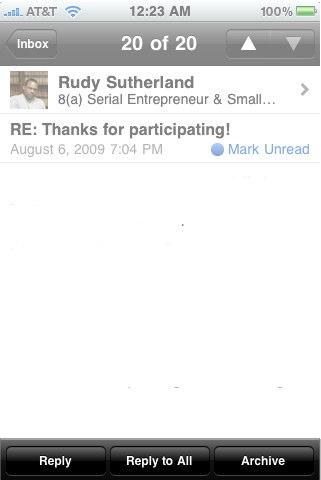 LinkedIn iPhone app v1.5 Message screen