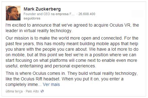 Facebook compra Oculus VR