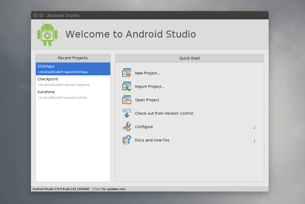 Welcome do Android Studio