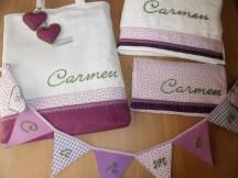 conjunto bolsa-toalla, banderola y cambiador