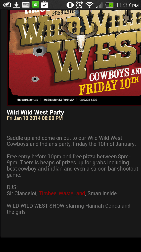 Screenshot of text description of cowboy and indian themed event by the Court Hotel