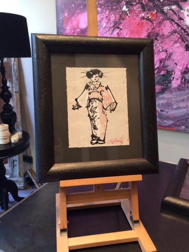 """Enmarcación de piezas de """"Un sueño en Japón"""", exposición de David Callau"""