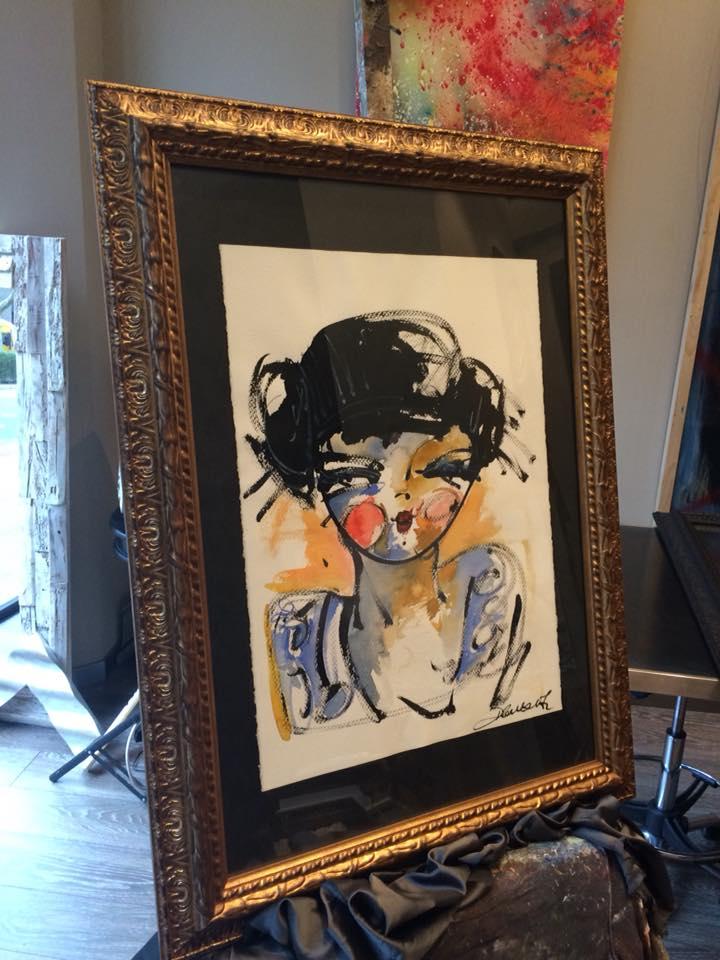 Beso azul, obra enmarcada de David Callau