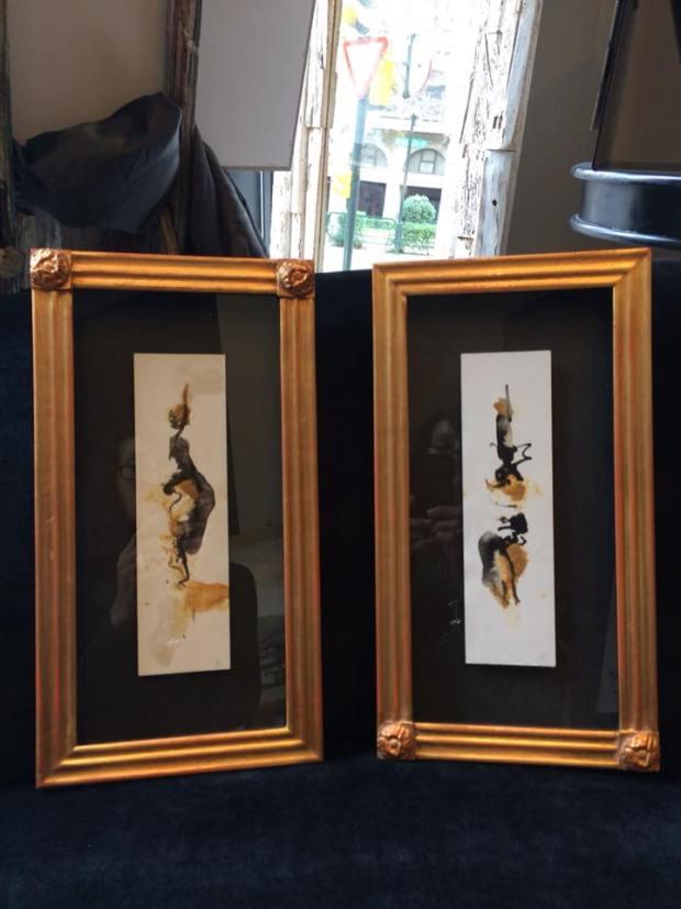 Dos acuarelas para decorar una columna. Autor Antonio Álvarez Pardo #enmarcaciones #zaragoza #arte #MarisaCervantes #decoracion #cuadros #marcos