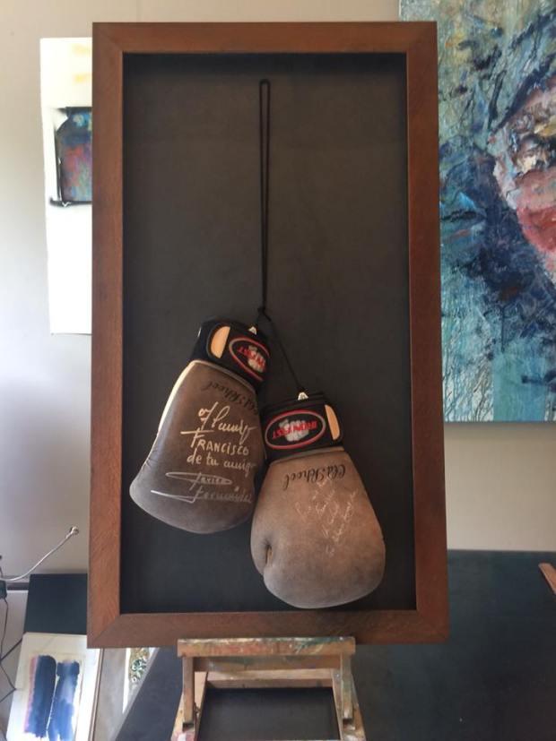 Son los guantes de Perico Fernández, #arte #boxeo #cuadros #enmarcaciones #Zaragoza #MarisaCervantes #deco