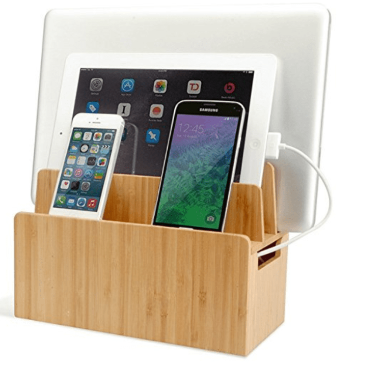 Bamboo cord organizer stand for home office