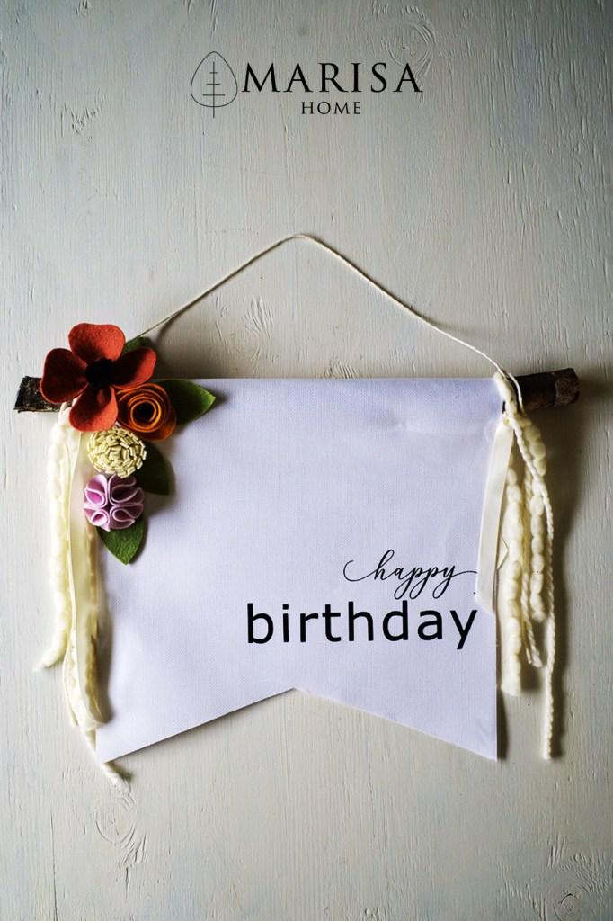 felt flower birthday banner