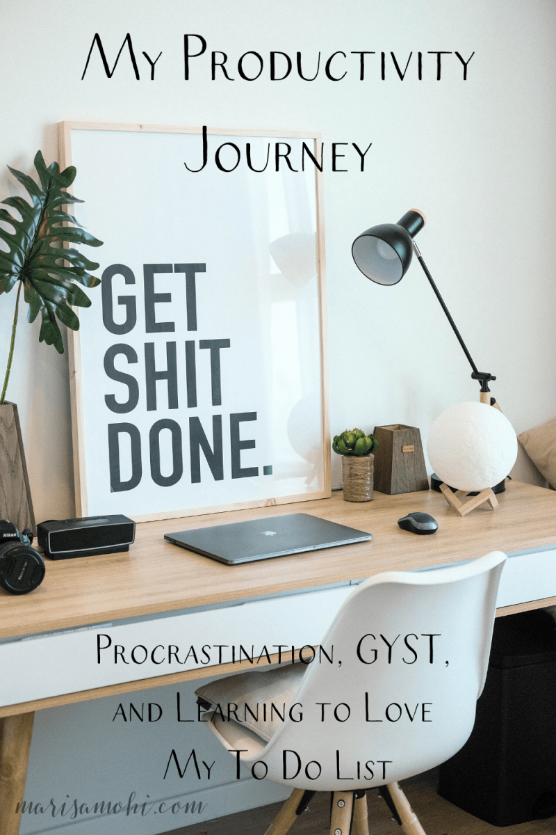 """A minimal desk with a lamp and a white chair with the text """"my productivity journey"""" at the top"""