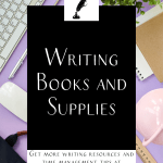 """a keyboard and office supplies on a purple background with the text """"writing books and supplies"""""""