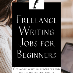 """a woman in a white sweater looking at a laptop with the text """"freelance writing jobs for beginners"""""""