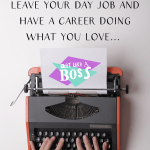 "Orange typewriter on a blank background with the text ""Build a Career Doing What You Love!"""