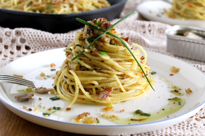 Sardine Spaghetti with Chives
