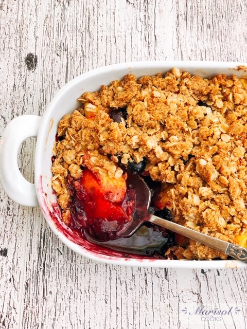 Blueberry and Peach Crumble