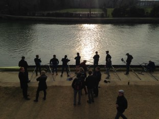 The male rowing team preparing for the race