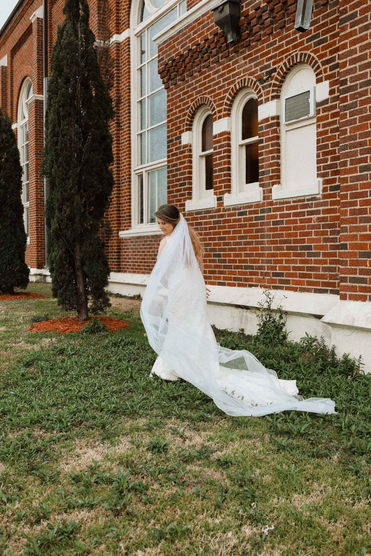 beautiful bride outside church