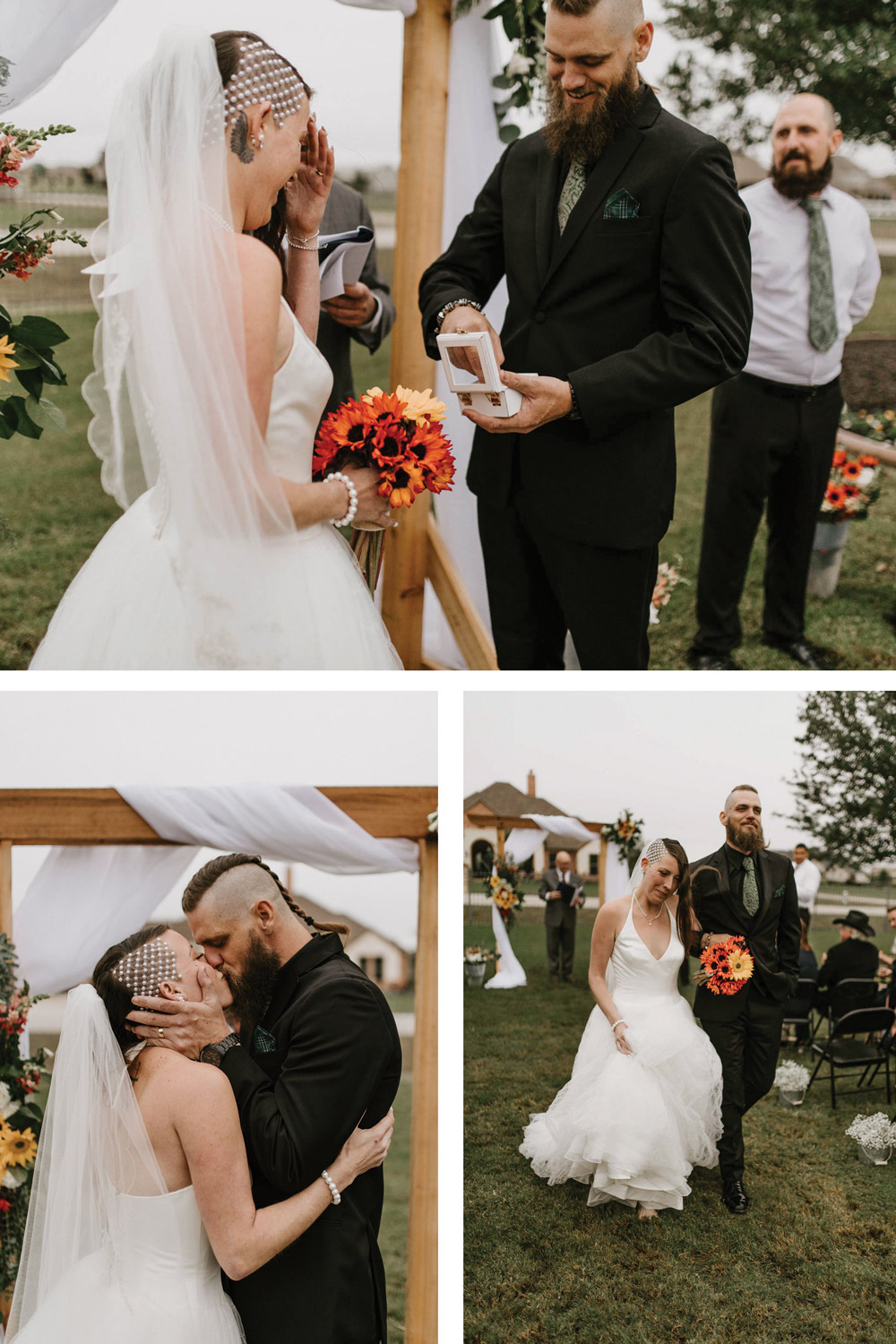 epic alternative backyard elopement wedding for edgy couple