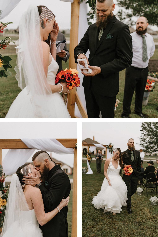 epic alternative backyard elopement wedding for edgy couple