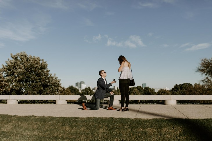 Beautiful skyline proposal in Fort Worth texas