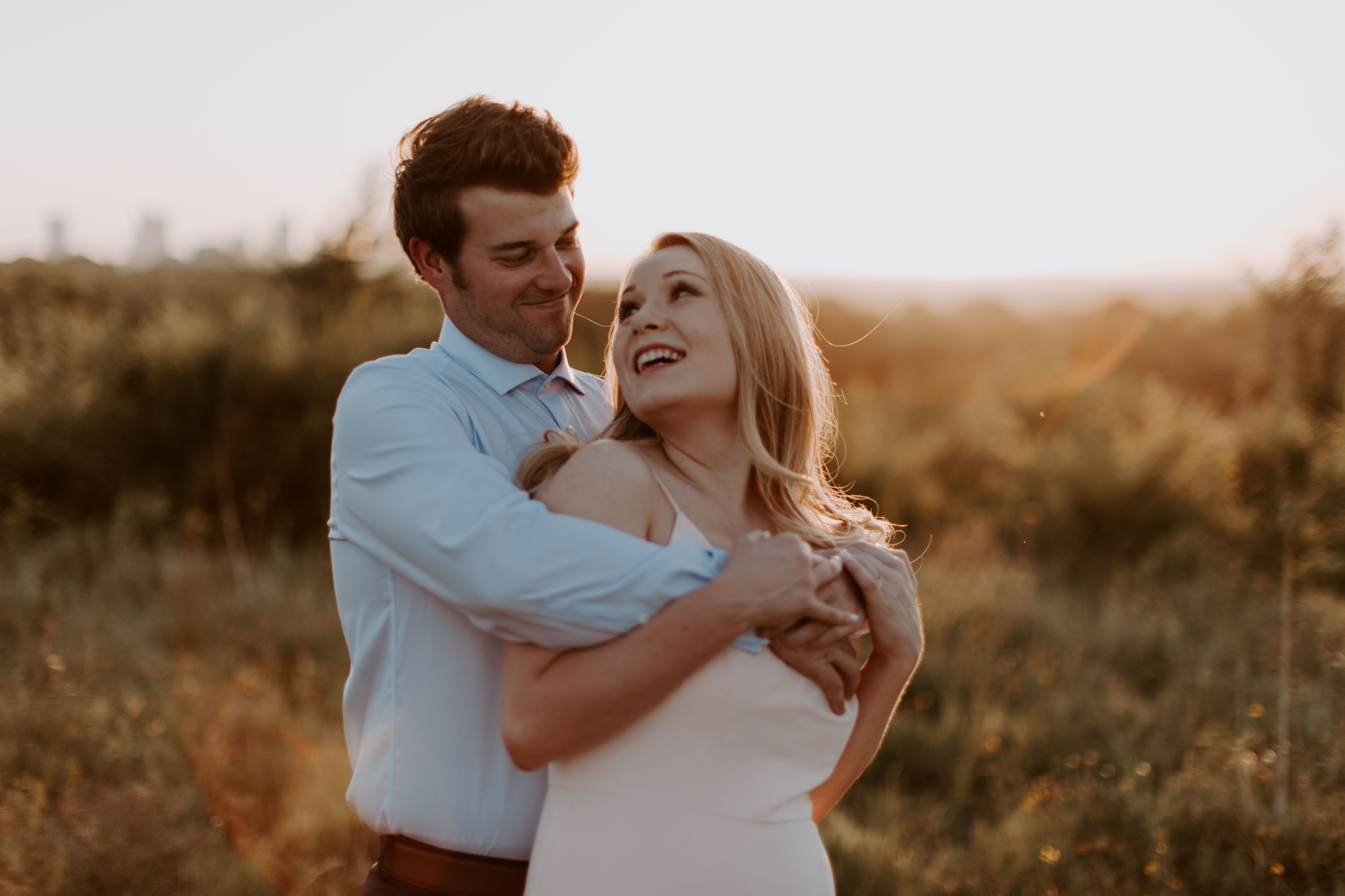 couple in love at sunset in north texas