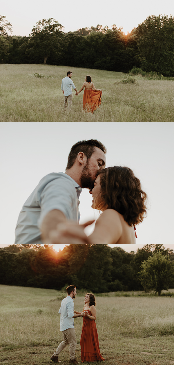 collage of golden hour engagement session in ETX