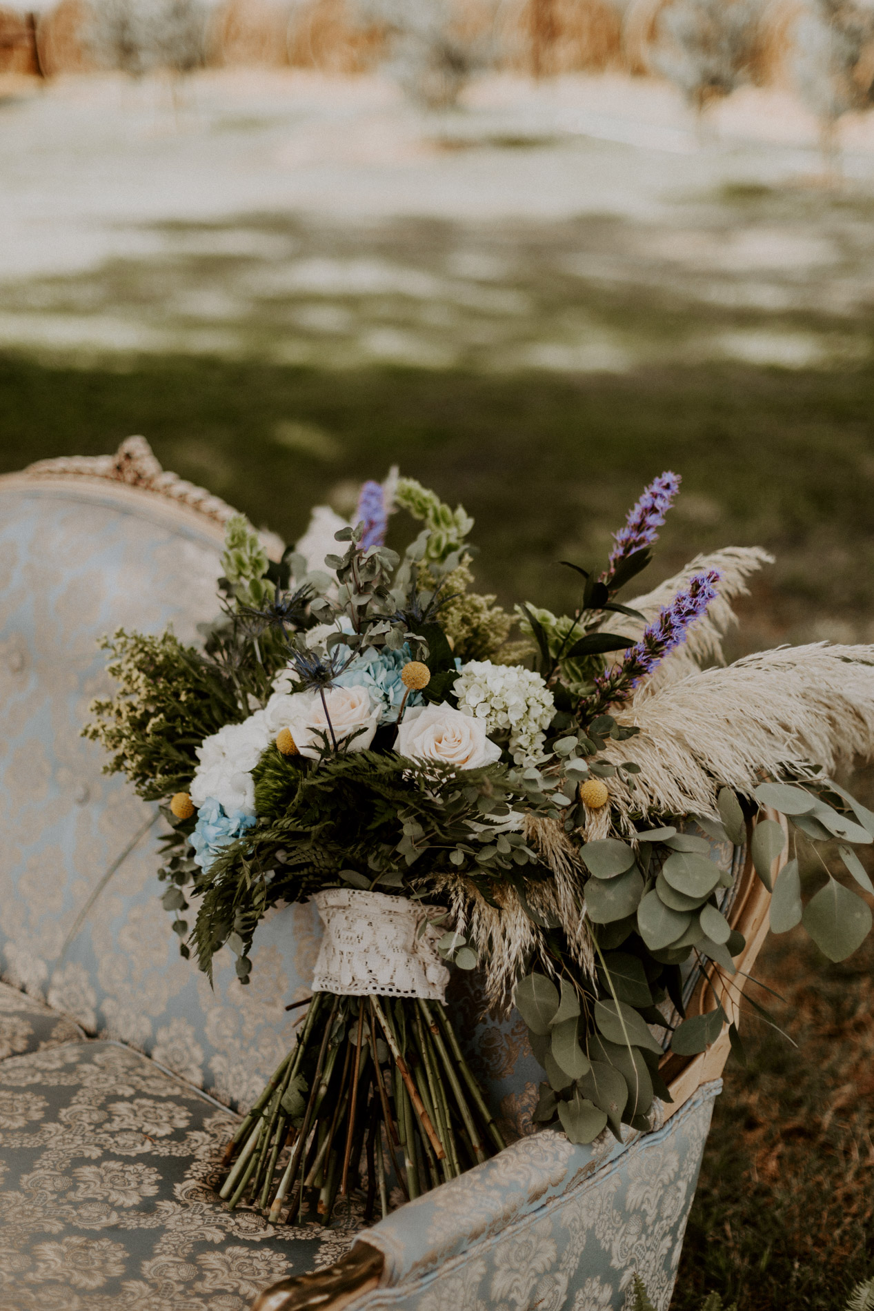 Beautiful bohemian wedding bouquet at East Texas wedding