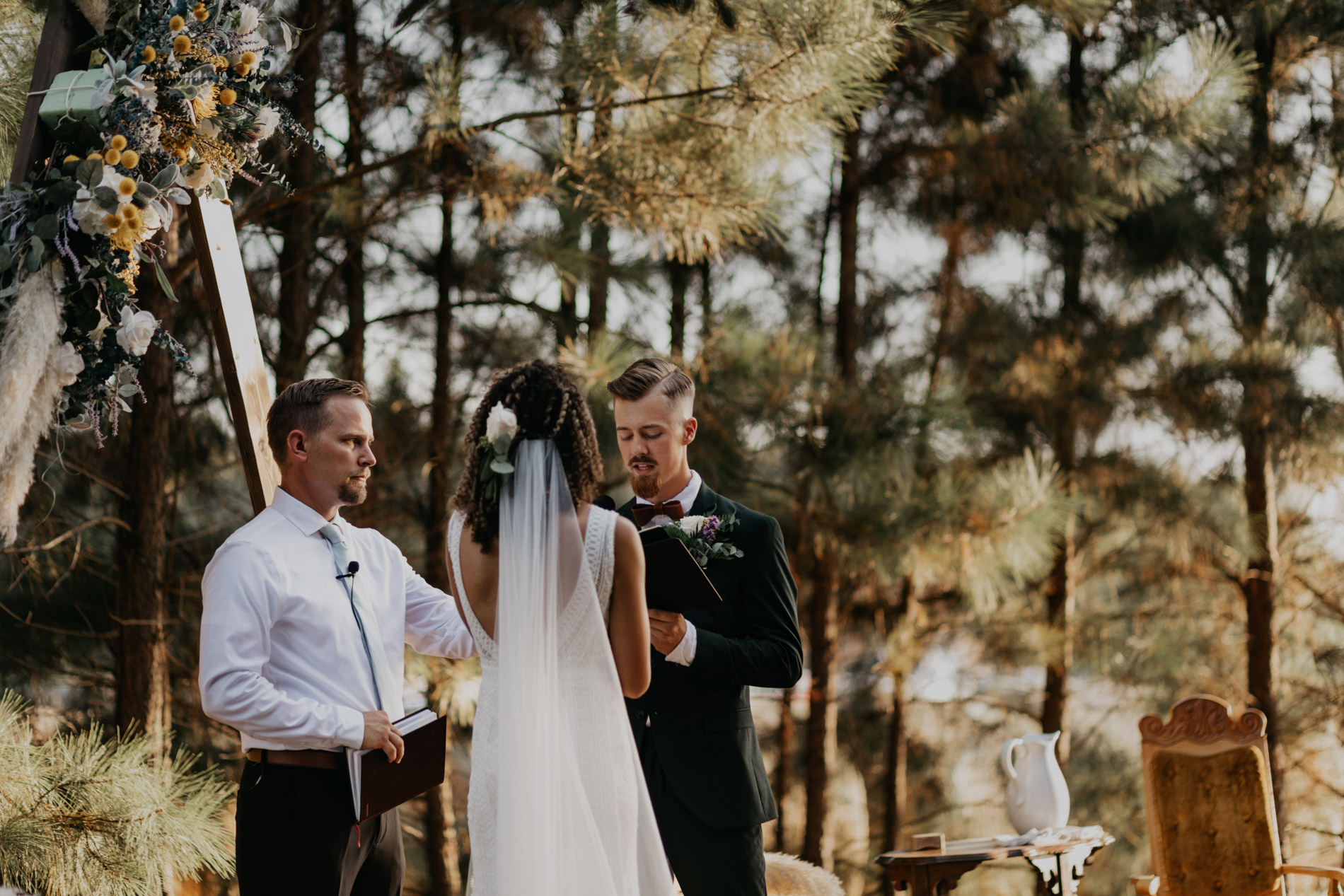 Groom reading vows to his bride in east texas