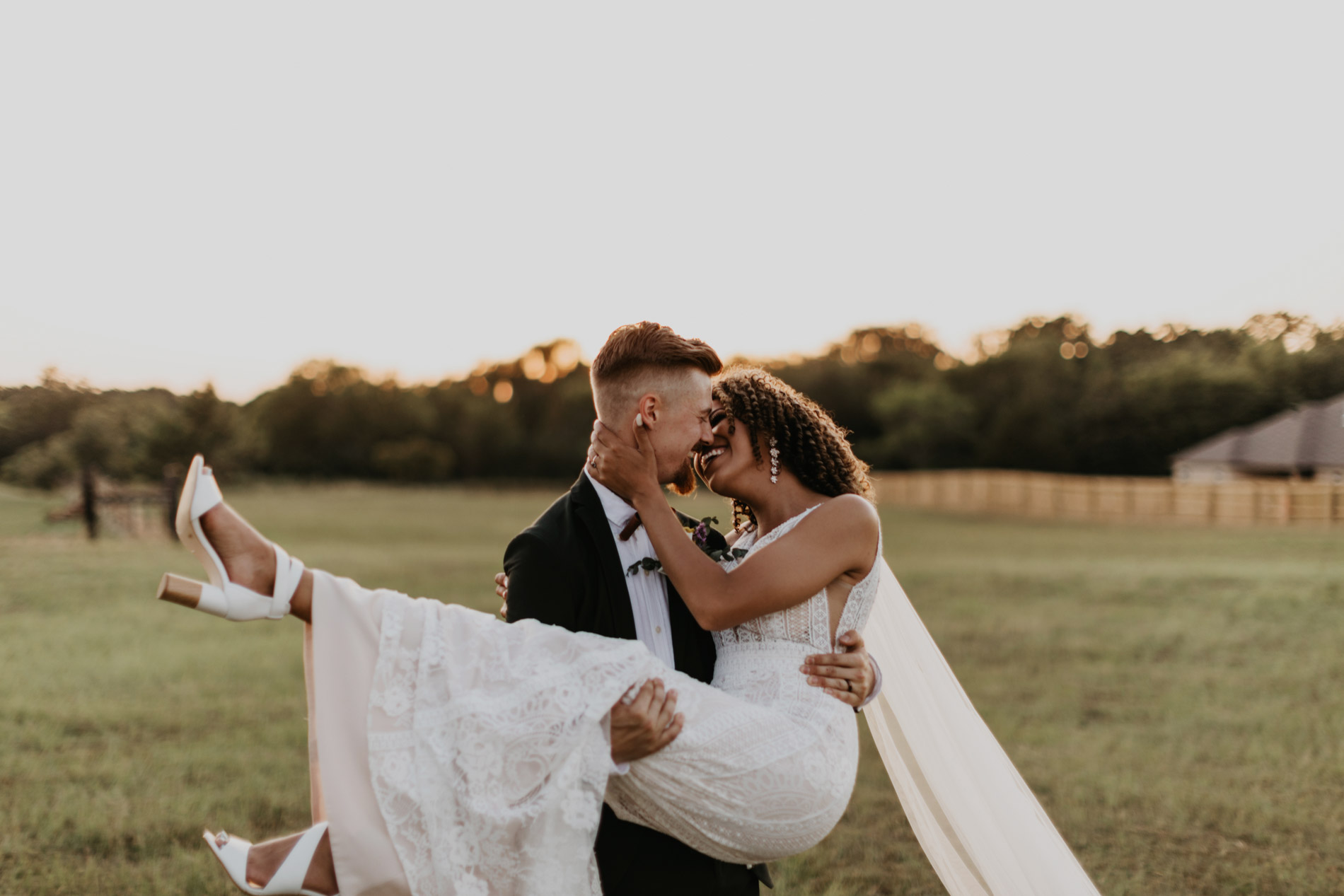 Bohemian bride being picked up by her husband in east texas