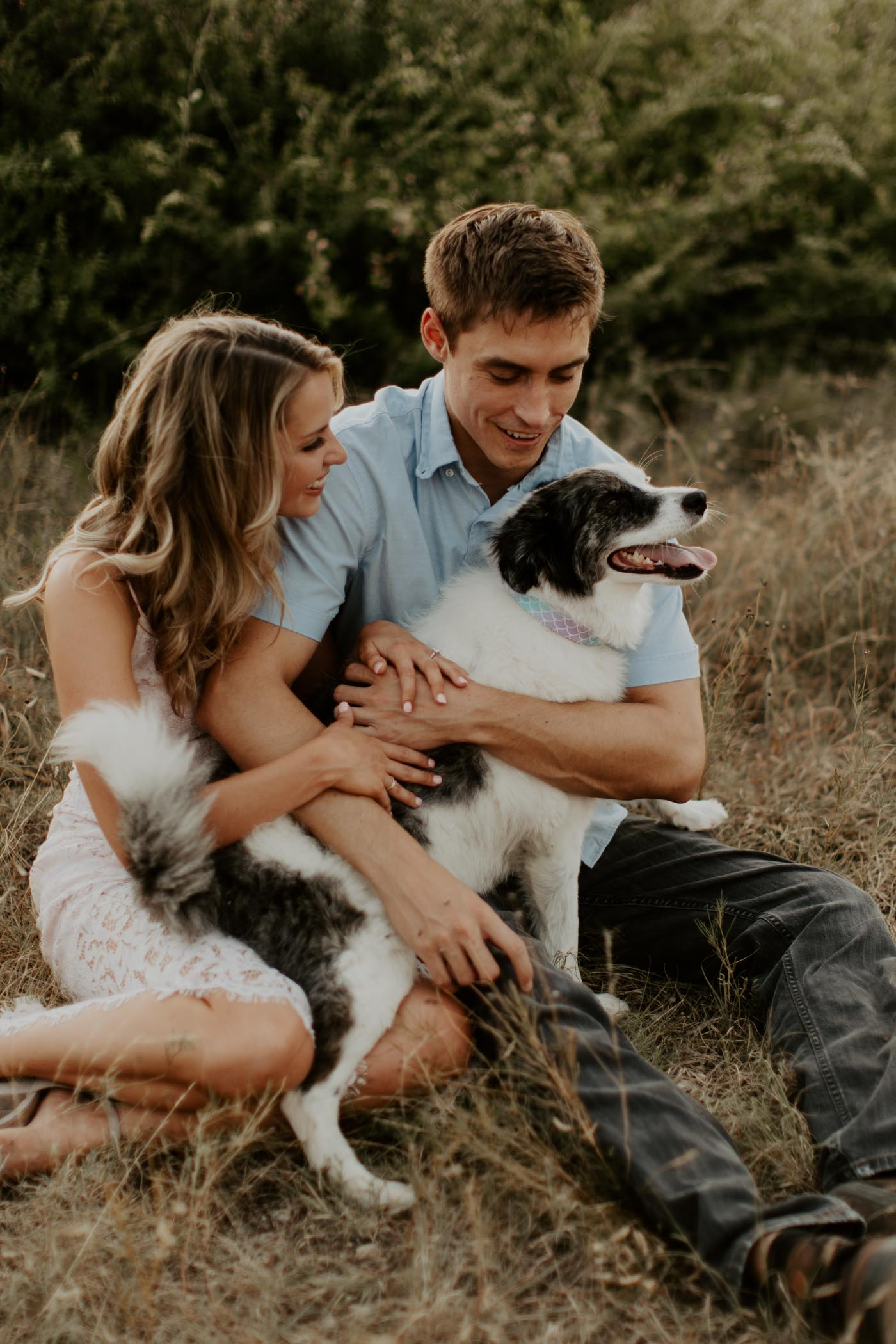 dog sitting in owners laps during engagement session in Fort Worth