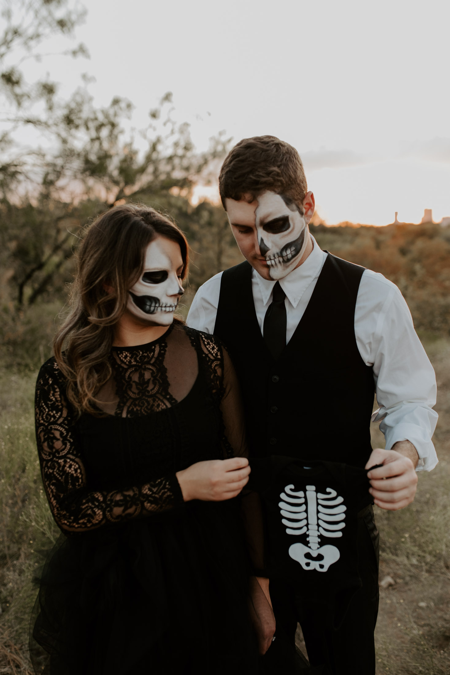 halloween themed baby announcement photography session