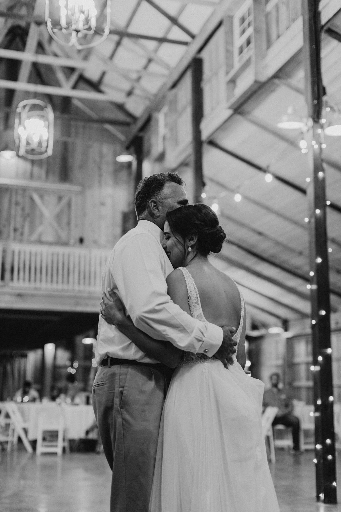 black and white photo of father daughter dance in Fort Worth
