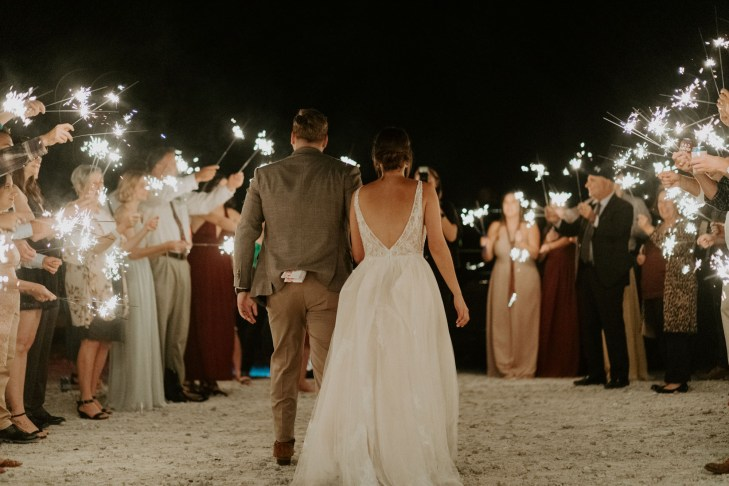 bride and groom have a sparkler exit on their wedding day