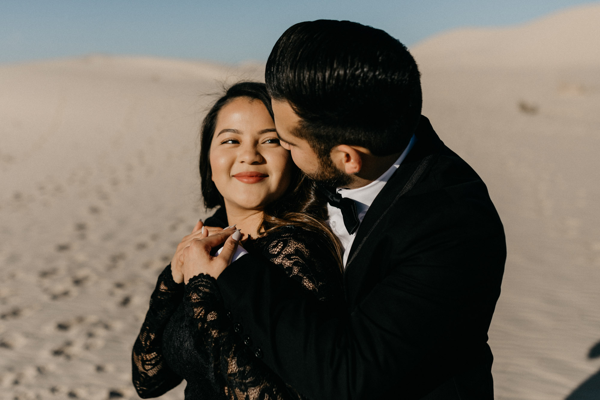 This couple was so romantic at their sand hills engagement session