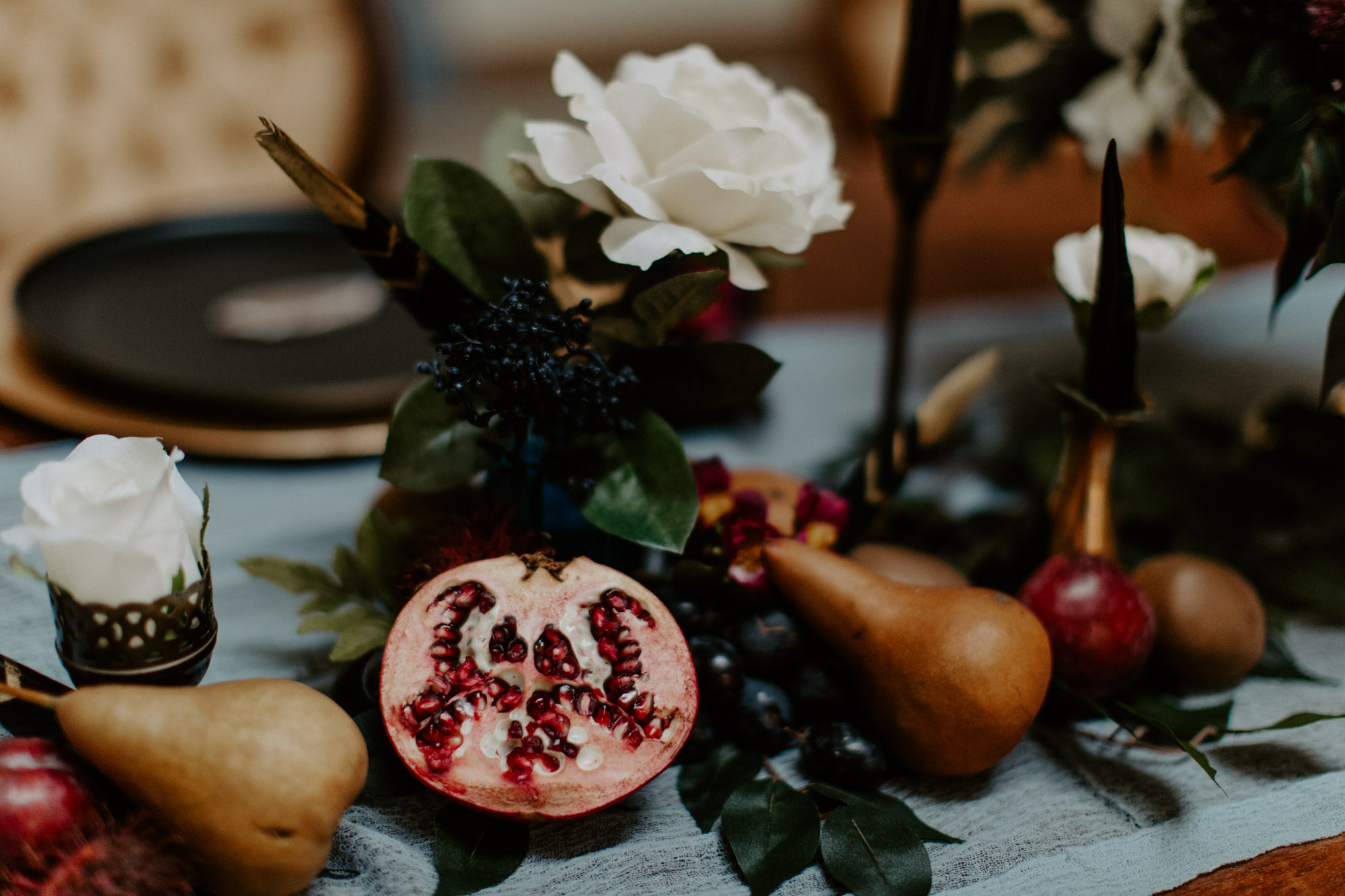 Moody styled shoot with fruit as decoration