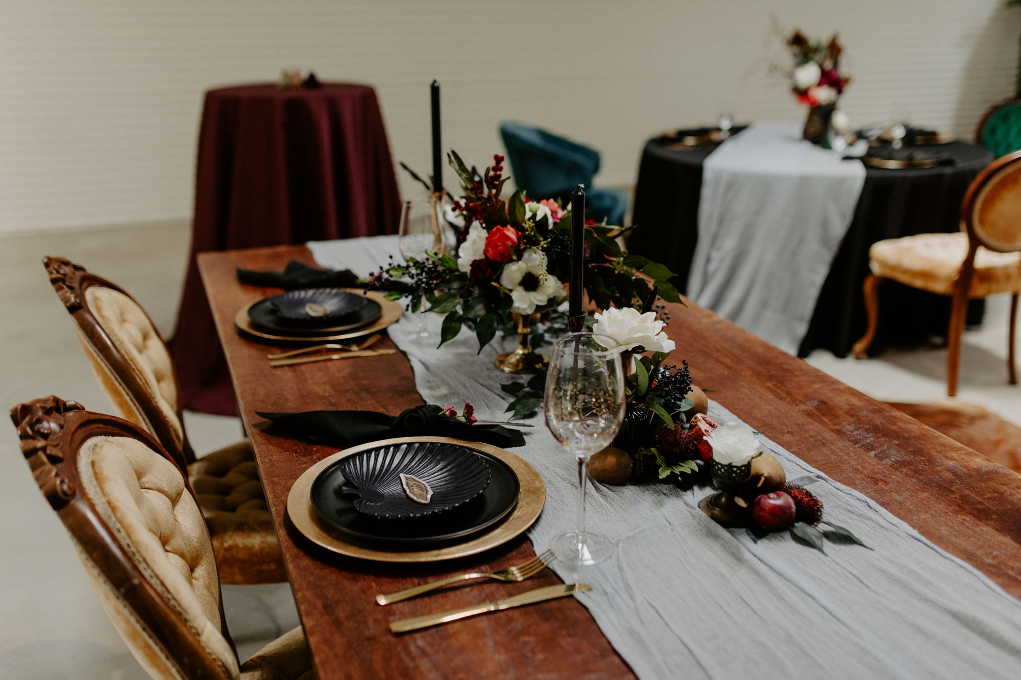 table decor with deep colors