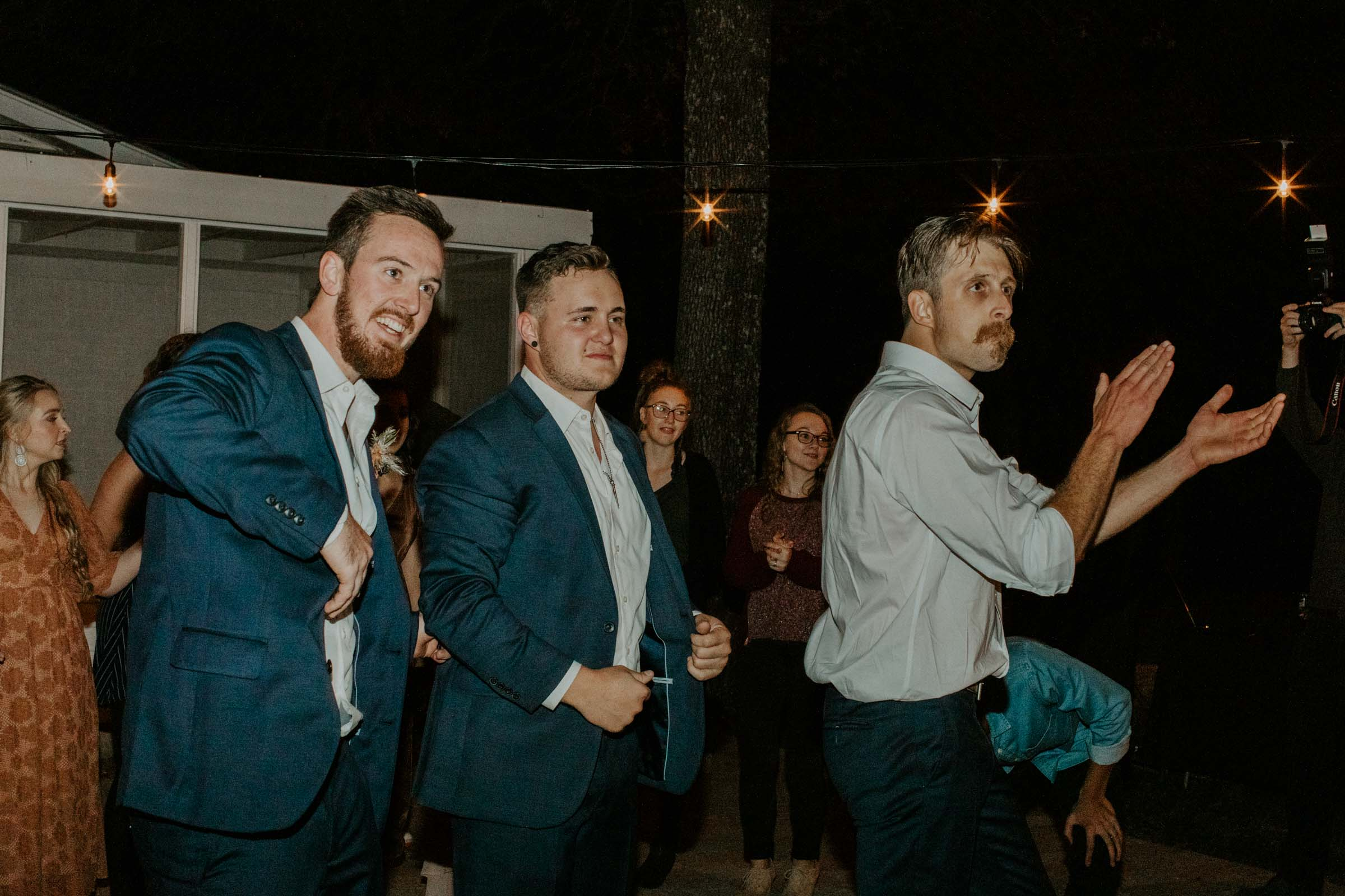 Groomsmen dancing on wedding day