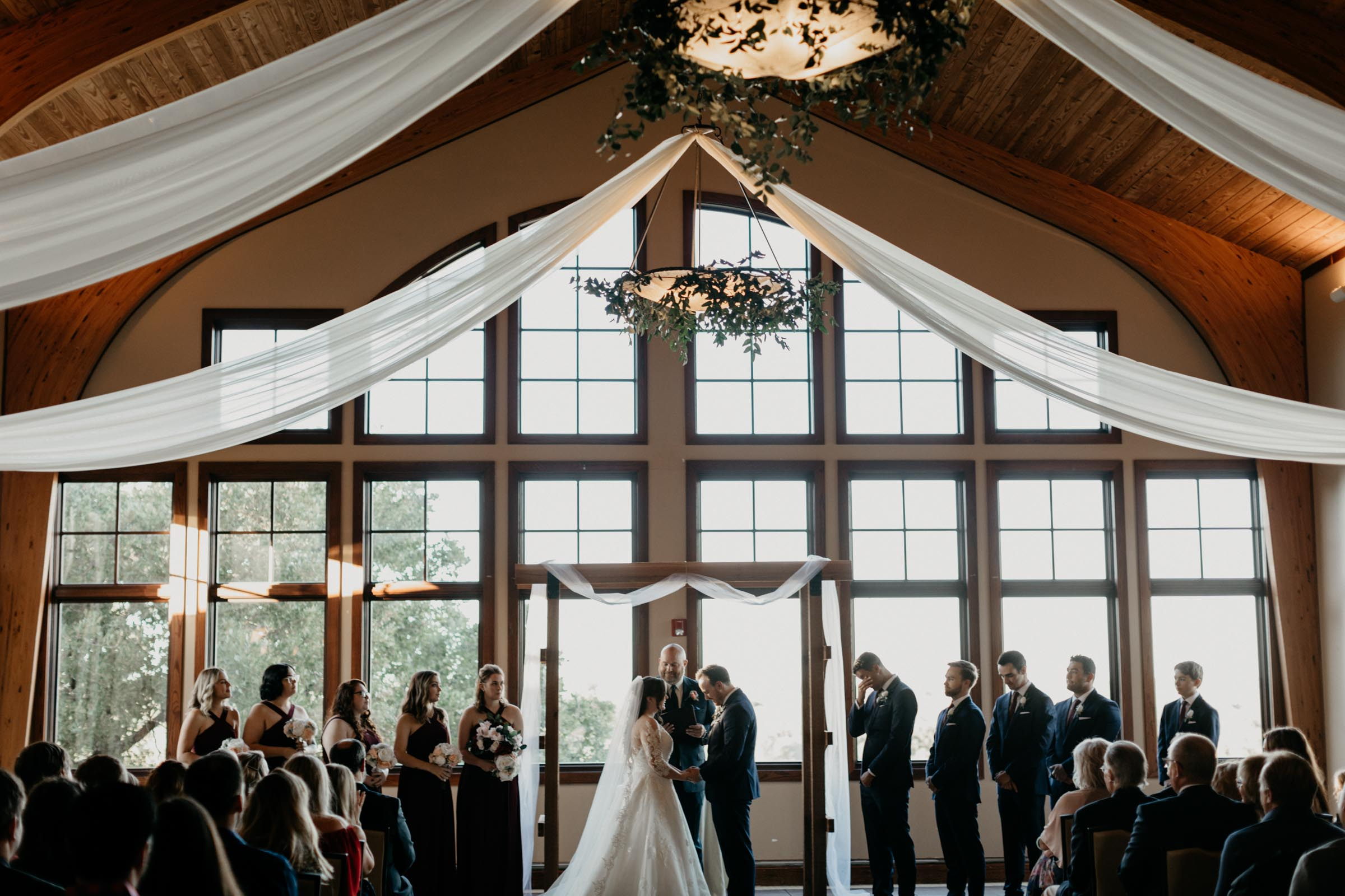 wide angle photo of a traditional wedding day in Dallas Texas