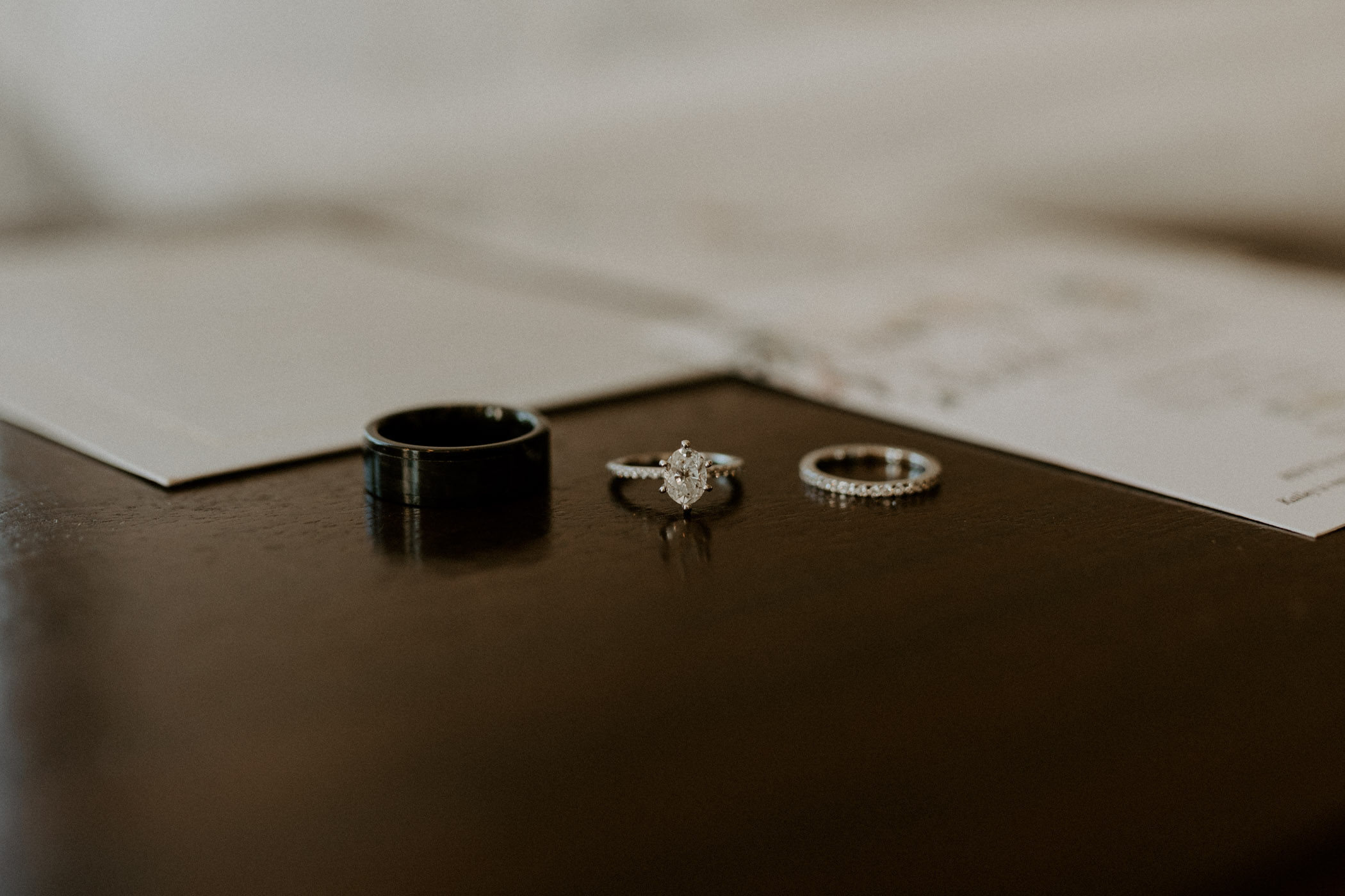 Wedding rings detail photo on top of stationary