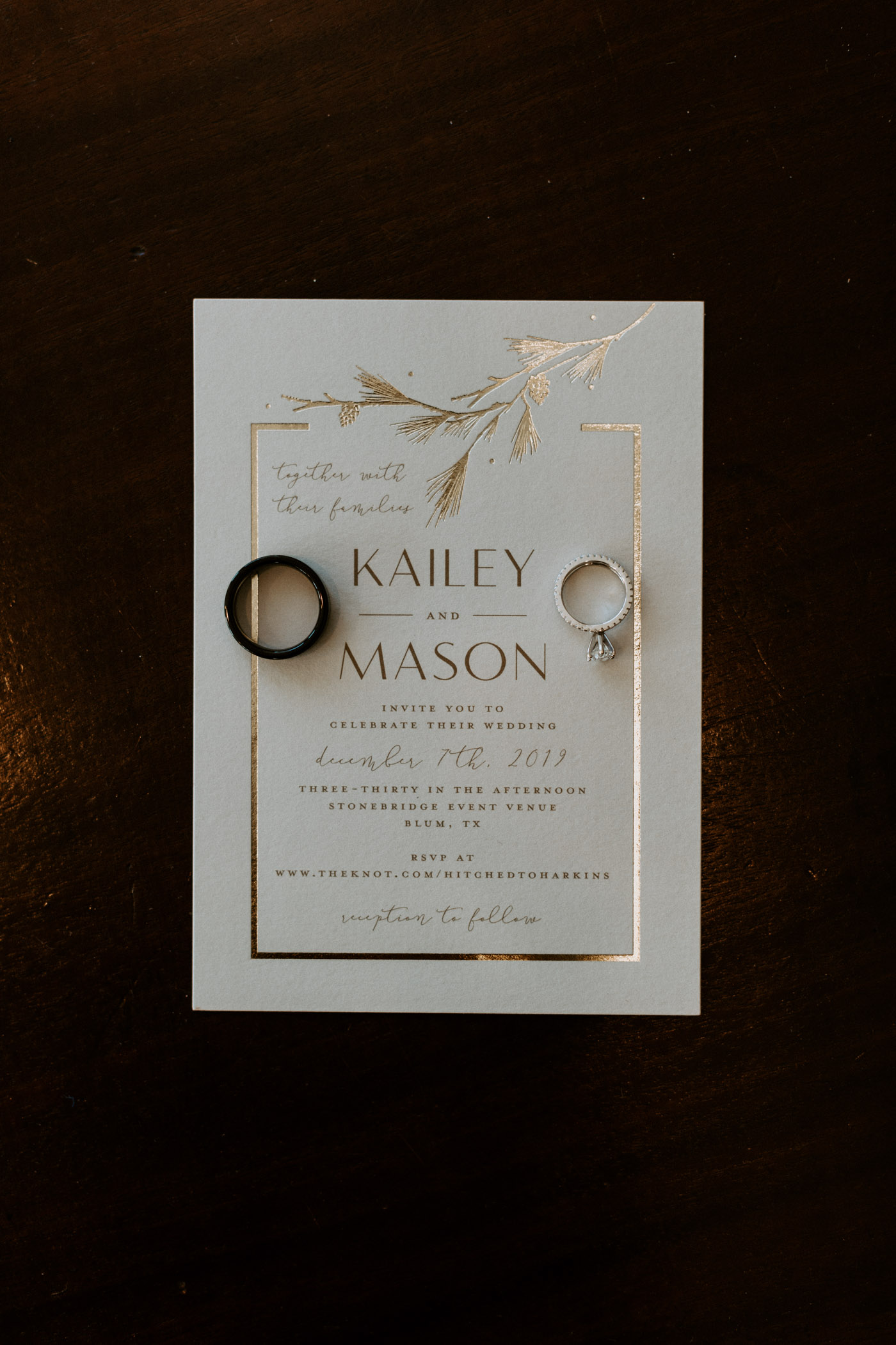 Gold foil wedding stationary with wedding rings