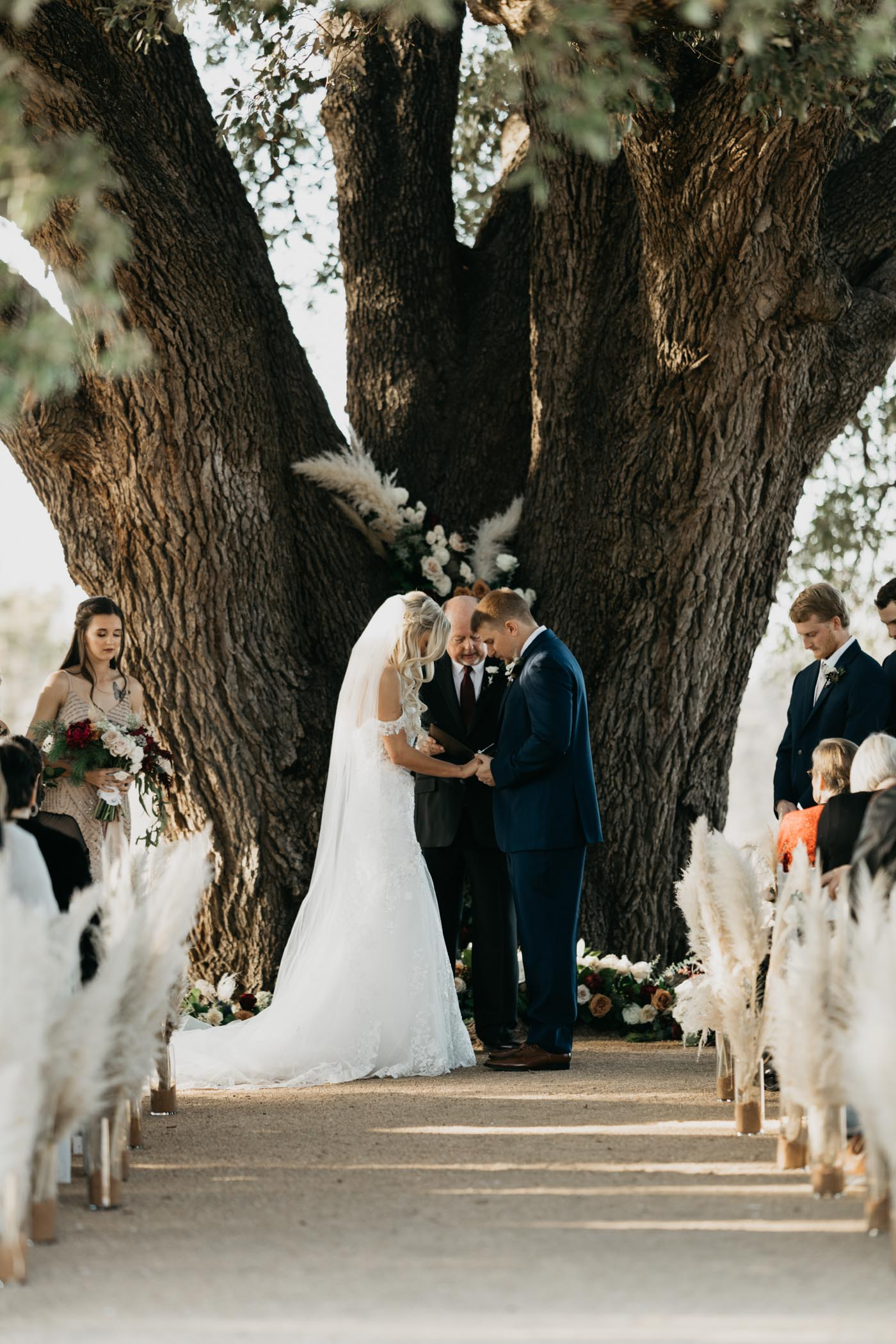 bride and groom holding hands in front of large tree during wedding ceremony