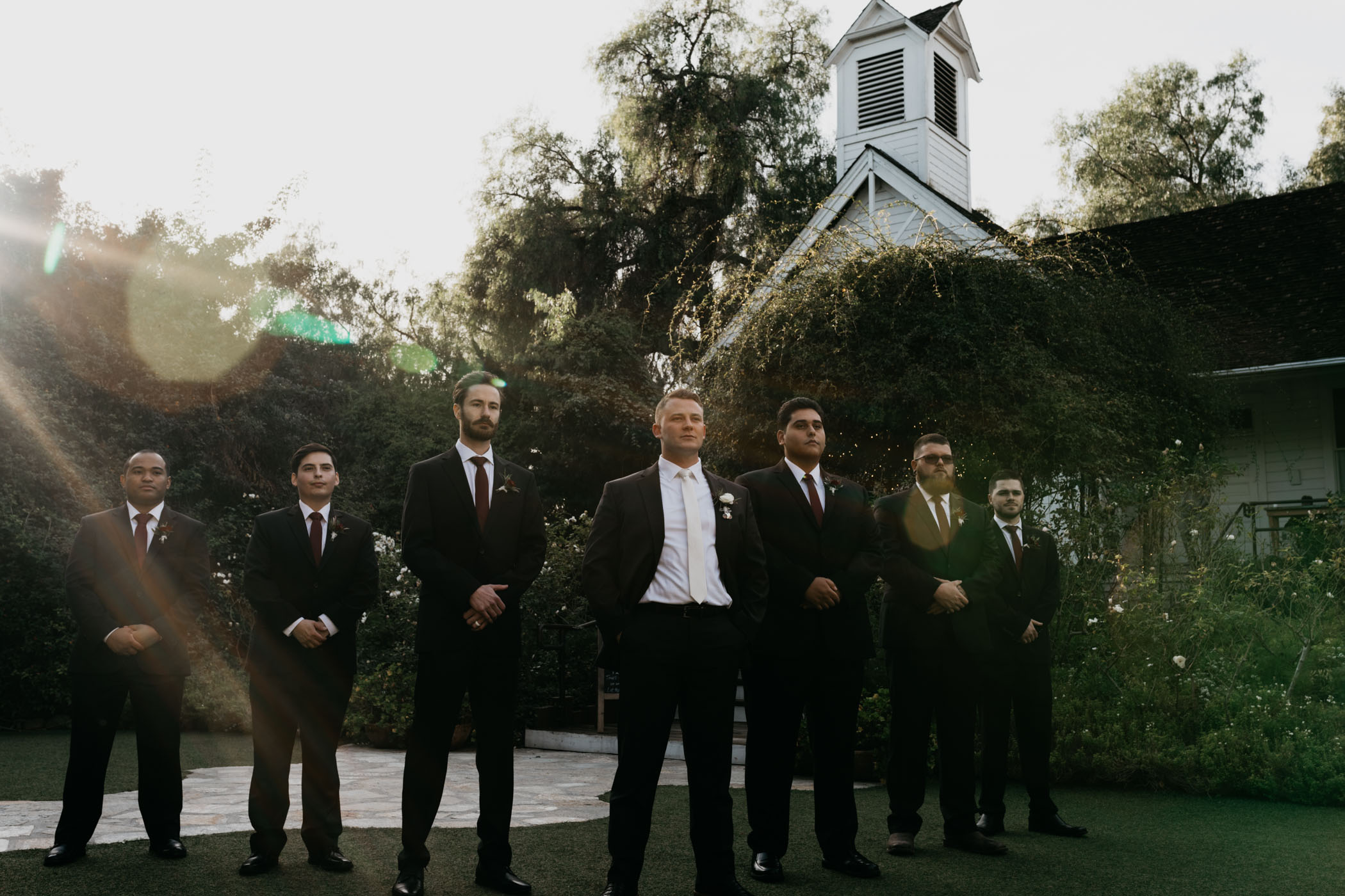 Groomsmen wedding photo before ceremony begins