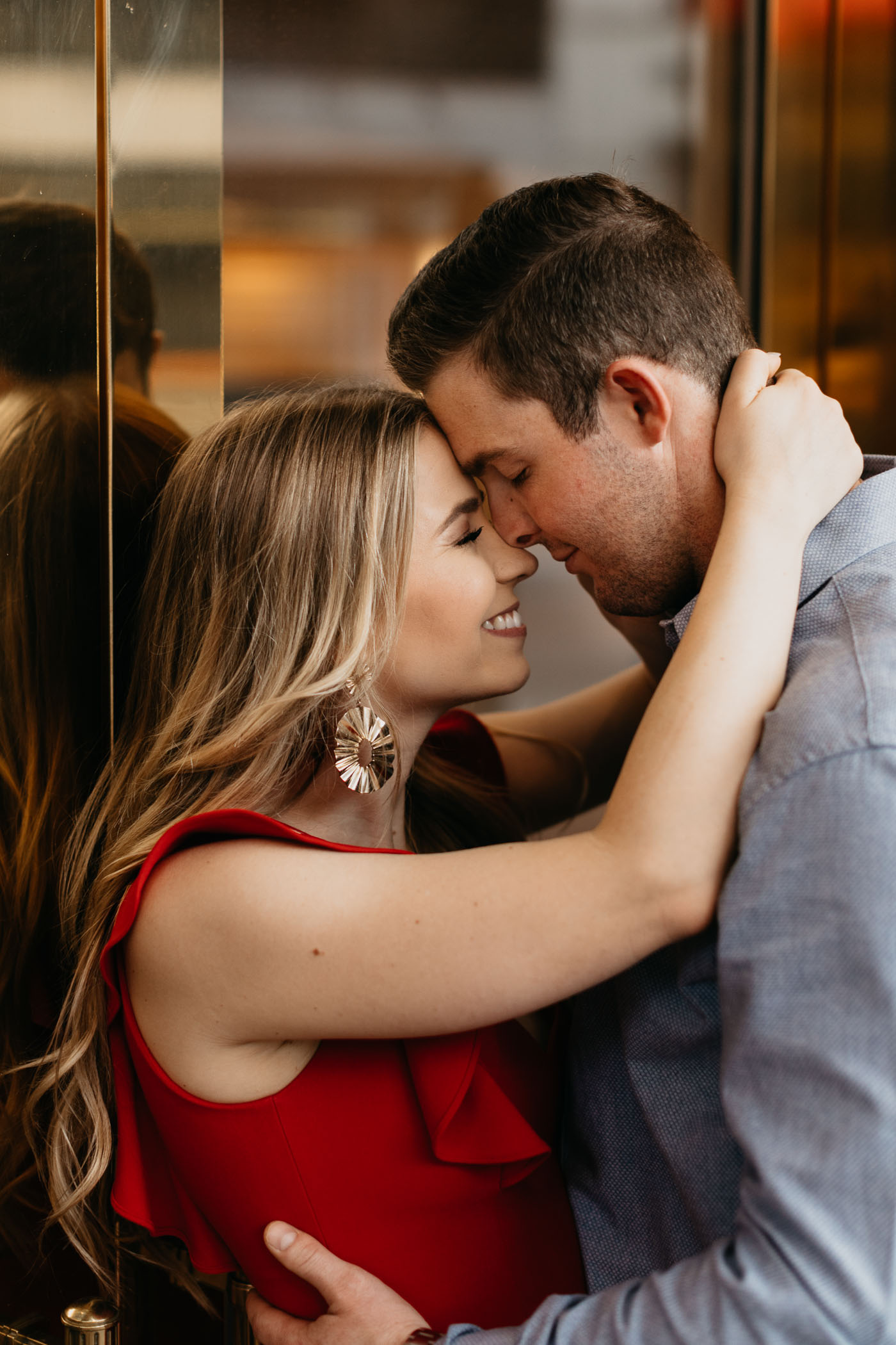 Romantic modern photo of engaged couple in downtown Fort Worth