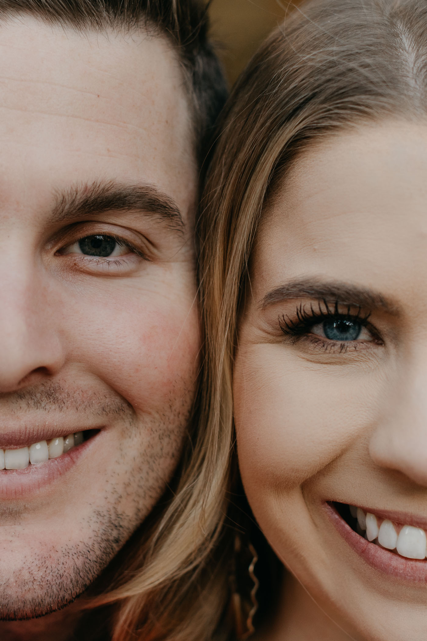 Cute couple close up photo during Fort Worth engagement session