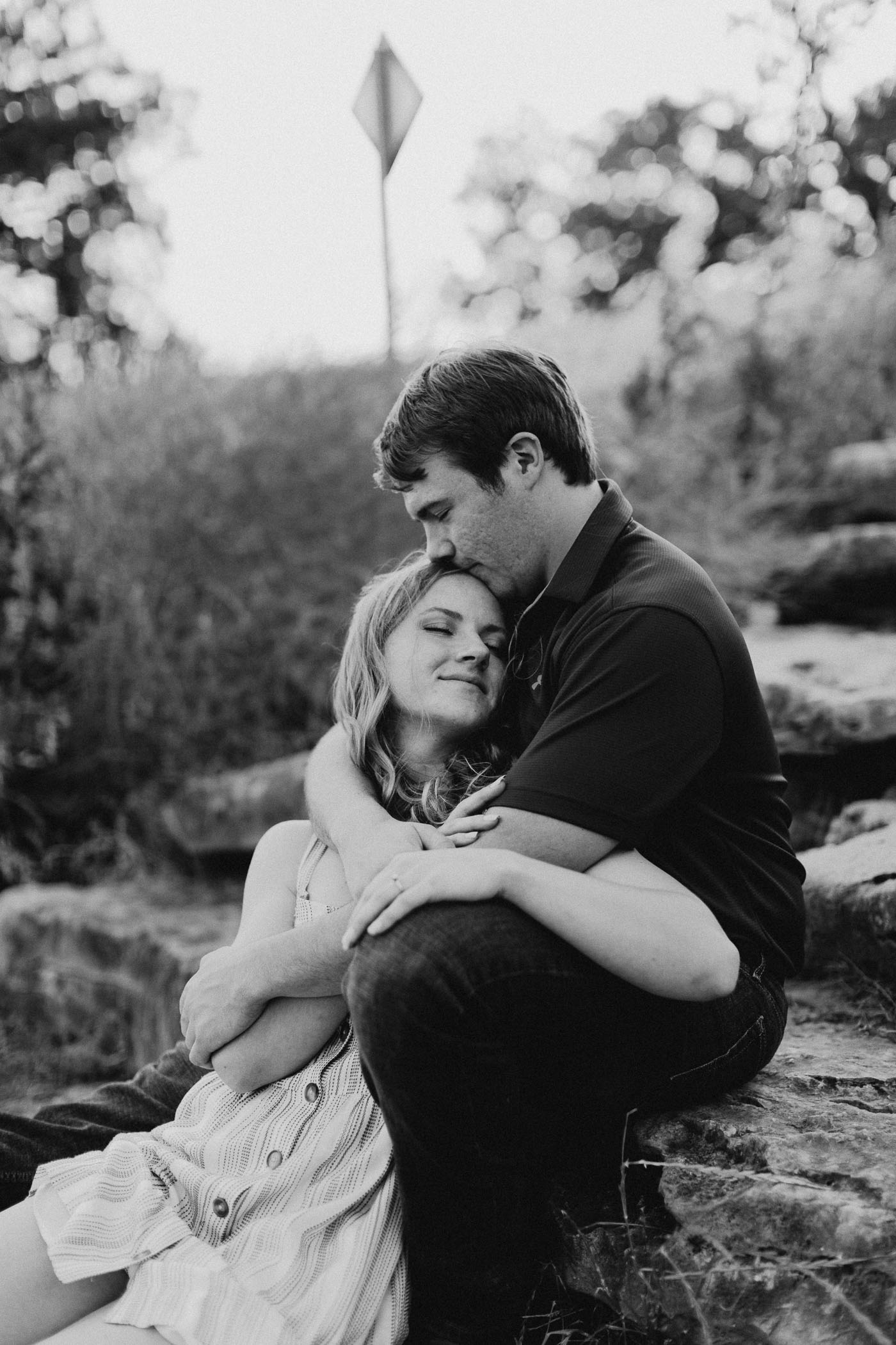 black and white of engaged couple in Fort Worth