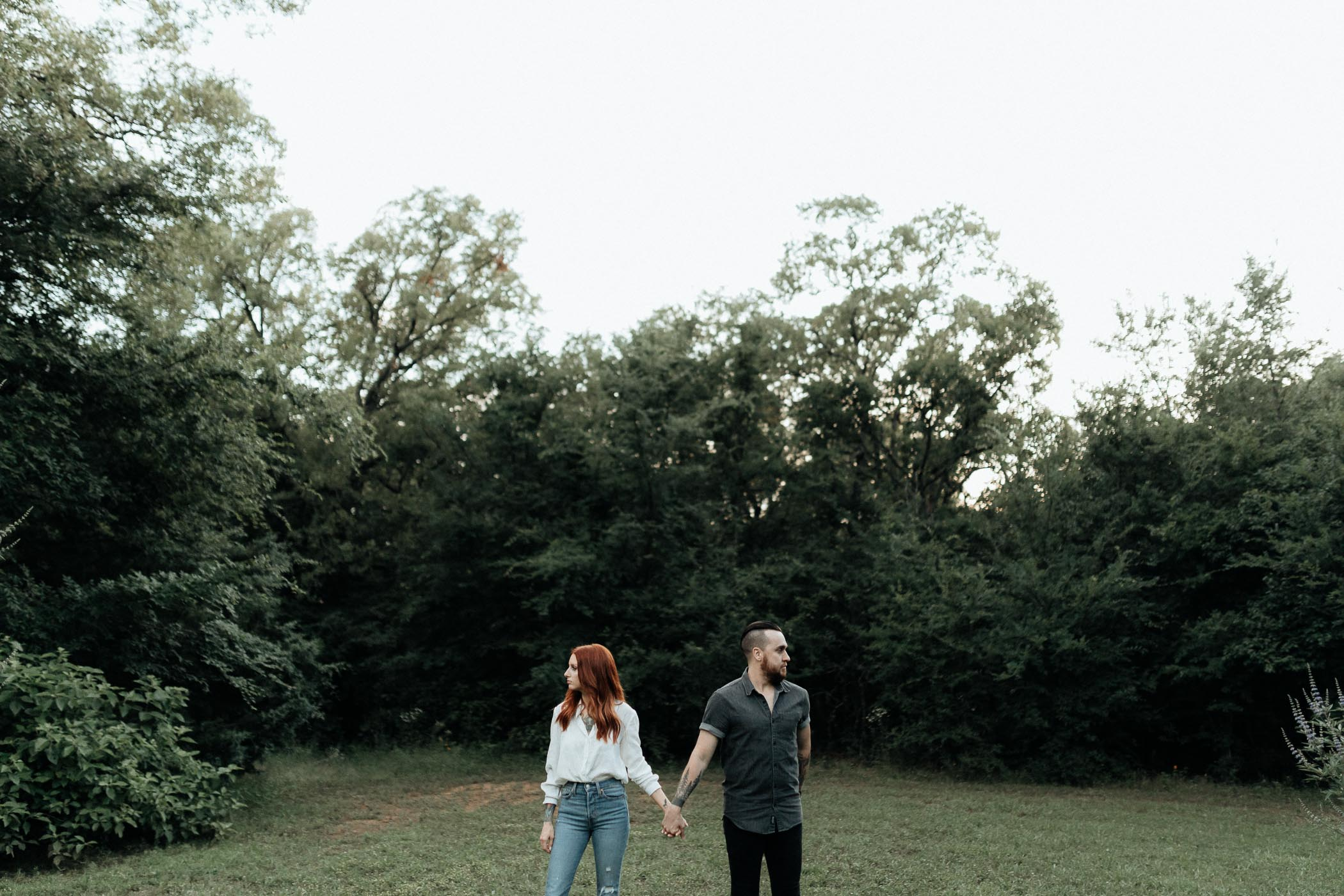 Woodsy moody engagement photos in DFW