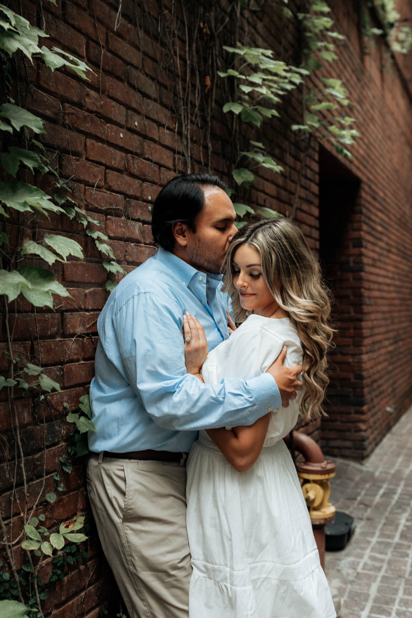 Downtown Fort Worth romantic courtyard engagement session