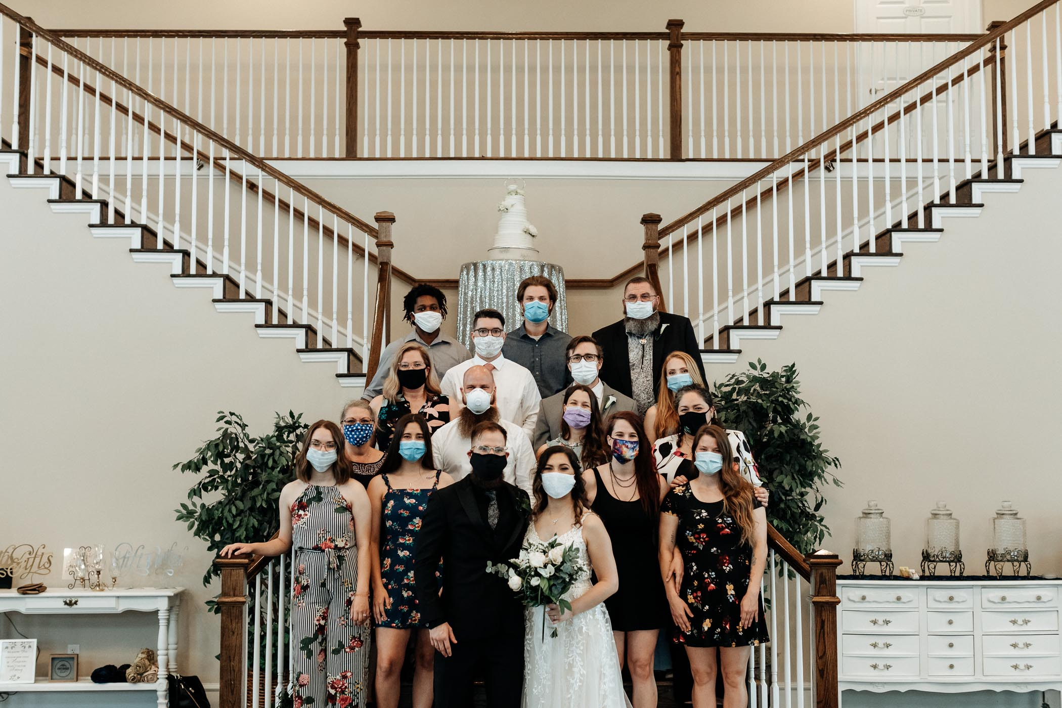 Bride and groom with wedding guests during Covid-19 Pandemic in Texas