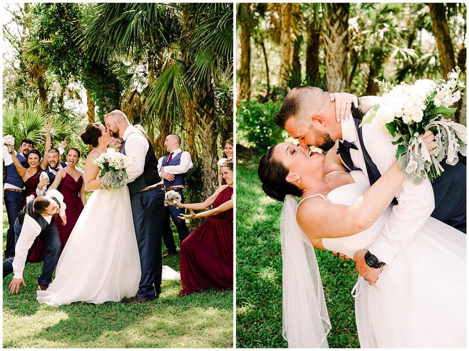 Burgundy and navy bridal party