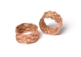 Untitled Rings (Collaboration with Taekyeom Lee). Rings. 3-D printed PMC (Copper). Varying Sizes. Photo by Sara Brown. 2016